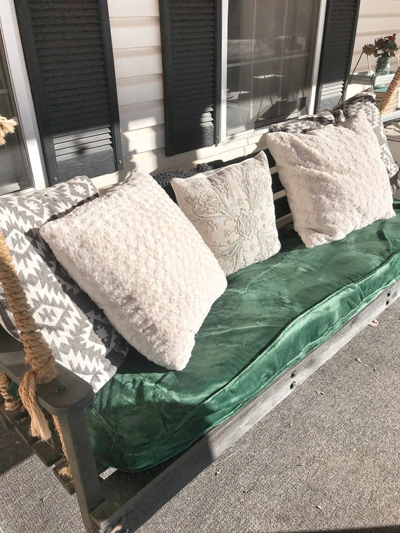 Green Velvet Slip Cover For Porch Swing Cushion Etsy