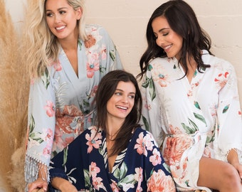 NEW Boho Floral Robes-Tassle Robes with Fringes-Cotton Robes-Bridesmaid Robes-Bridal Robes-Wedding Robes-Flower Girl Robes-Bohemian Robes