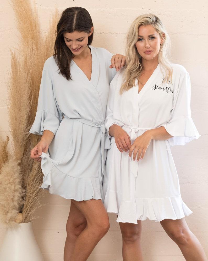 White Robe,Satin Robes,Bridal Robes Mrs Robe NEW Ruffle Bride Robe Robe for Bride,Bridal Party Robes,Flower Girl Robe Bride to Be Robe