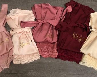 Bridesmaid robes Set of 1,2,3,4,5,6,7,8,9,10,11,12,13,14 Bridesmaid Gifts-Custom Wedding Robes-Gift for Bride-Satin Lace Robes-Bridal Robe