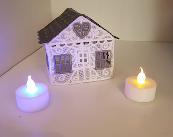 3d Lace house, embroidered, night light, living room, bedroom, with lights, White & grey
