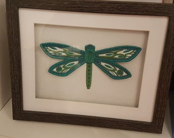 Embroidered 3d Dragonfly, art