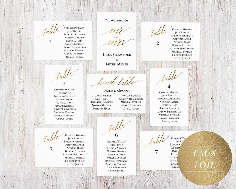 Seating Chart Template Editable PDF Gold Wedding Seating Chart Cards 4 x 6 Gold Wedding Table Plan DIY Seating Plan Cards A1GO