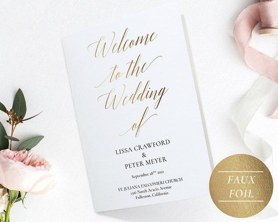 Folded Wedding Program Template Pdf Gold Instant Download Etsy