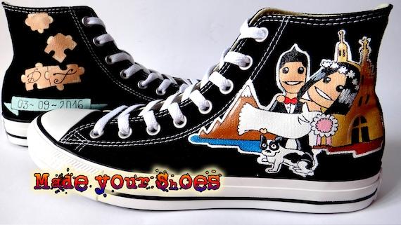 Wedding Shoes Custom Canvas Handpainted Converse Chuck Taylor Etsy