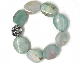 Gemstone bracelet in beautiful blues and greens.