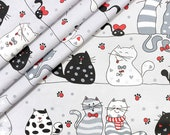 Beautiful,wide width 160cm, crazy cats grey red 100 printed cotton