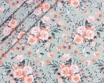 floral soft  pink rose twig on grey   100/%COTTON fabric 160cm wide