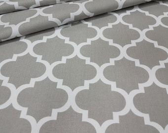 Beautifull ,wide width 160cm, grey quaterfoil , moroccan fabric 100% printed cotton