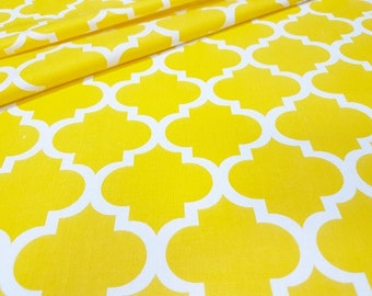 Beautifull ,wide width 160cm, yellow quaterfoil , moroccan fabric 100% printed cotton