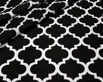 Beautifull ,wide width 160cm, black quaterfoil , moroccan fabric 100% printed cotton