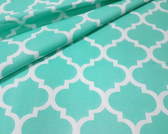 Beautifull ,wide width 160cm, mint green quaterfoil , moroccan fabric 100% printed cotton