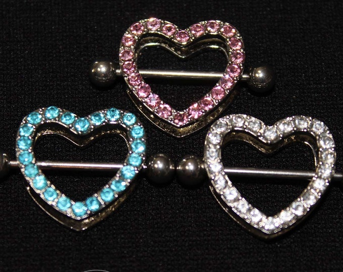 Jewel Encrusted Hearts - Piercing nipple shield body jewelry for pierced nipples - Sexy wife gift for topless bikini