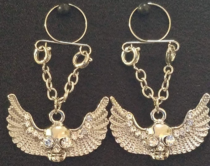 Skull Wings Adjustable Non Piercing Nipple Rings - Erotic Nipple Jewelry - Sexy Fake Nipple Piercing - Topless Bikini - BDSM/Motorcycle