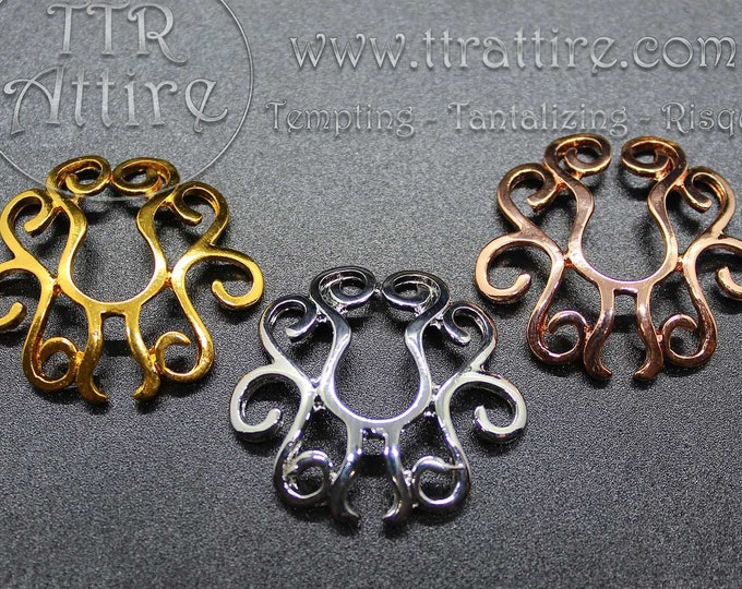 Fake Non Piercing Nipple Ring Shields -Tribal Swirls erotic jewelry gives the sexy, erotic look of pierced nipples Go topless, Nipple bling!