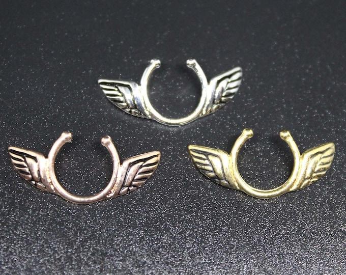 Angel Wings Non Piercing Nipple Shields - Erotic Nipple Jewelry - Sexy Fake Nipple Piercing - Topless Bikini - Silver/Gold/Rose Gold