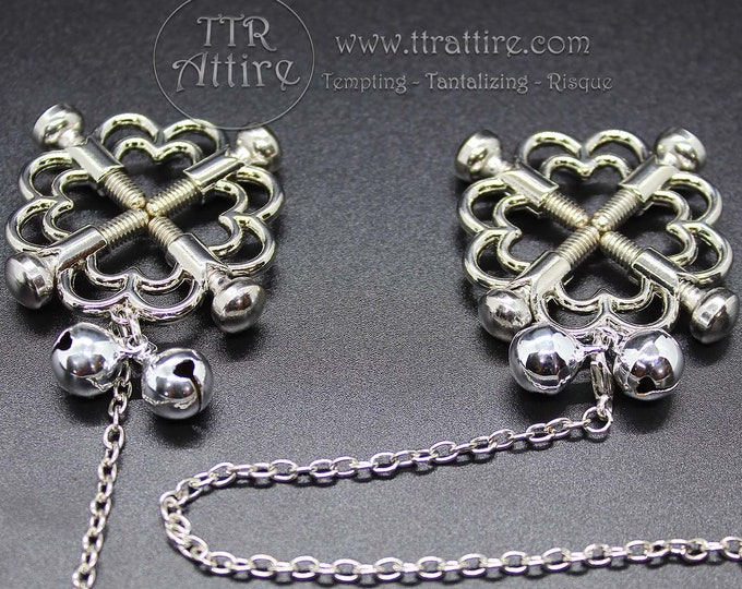 Flower Chain Screw Clamps Adjustable Non Piercing Nipple Rings - Erotic Nipple Jewelry - Sexy Fake Nipple Piercing - Swinger Lifestyle
