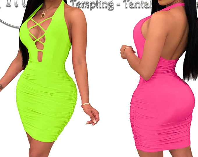 Risqué Neon Rave Rouched Side Dress - Bodycon bandage dress perfect for clubs, cocktail parties and sexy wear.