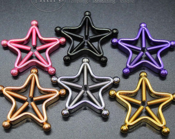Star Clamps Adjustable Non Piercing Nipple Rings - Erotic Nipple Jewelry - Sexy Fake Nipple Piercing - Topless Bikini - Swinger Lifestyle