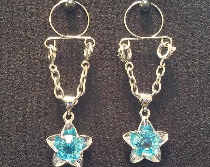 Blue Gem Stars Adjustable Non Piercing Nipple Rings - Erotic Nipple Jewelry - Sexy Fake Nipple Piercing