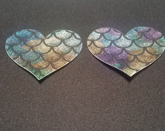 Holographic Mermaid Heart - Sun burn protectors / Nipple Shields / Pasties