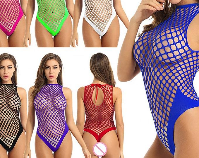 Sexy Fishnet Halter Neck Bodysuits w/ Thong Butt - Sleeveless Women's See Through Mesh Lingerie