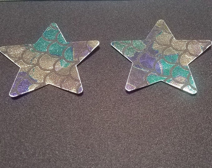Holographic Mermaid Star Pasties or Nipple Shields - Perfect for going topless at Burning Man, the pool or when boating on the lake