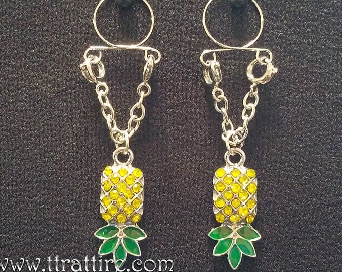 Fake Non Piercing Nipple Rings - Adjustable Upside Down Pineapple Jewelry gives the sexy and erotic look of pierced nipples with no pain