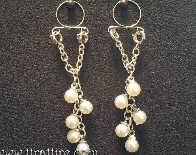 Pearl Dangles Non Piercing Adjustable Nipple Jewelry Ring