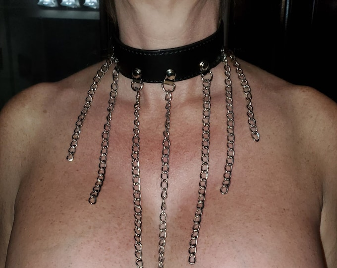 Sexy Leather Chain Collar - Erotic Choker for Her or Him - Great for BDSM, Roleplay or Cosplay - Spice up your sex life - Swinger Lifestyle