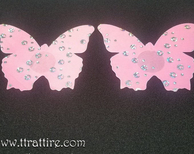 Pink Holographic Mirror Butterflies - Sun burn protectors / Nipple Shields / Pasties