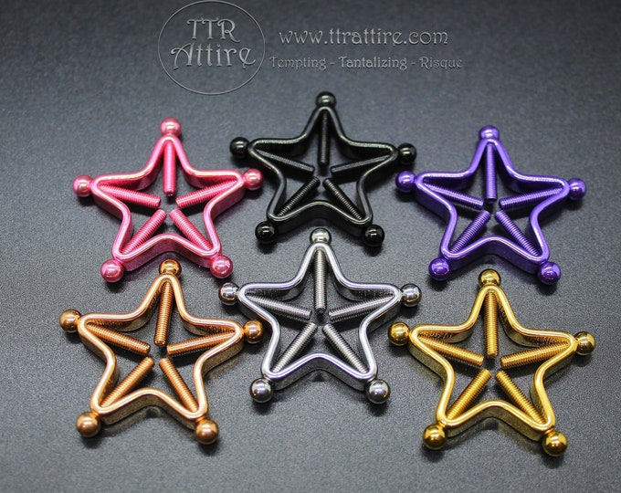 Star Clamps Adjustable Non Piercing Nipple Rings - Erotic Nipple Jewelry - Sexy Fake Nipple Piercing - Topless Bikini - Swinger Lifestyle