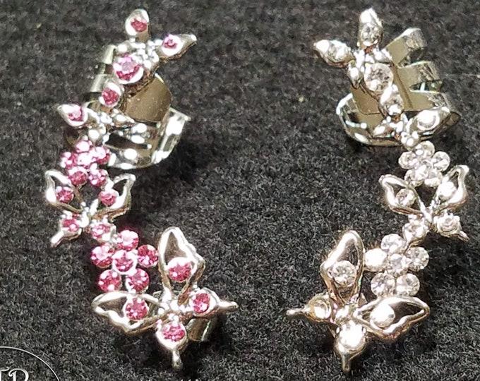 Beautiful Butterfly Ear Cuffs - Silver - Diamond, Pink