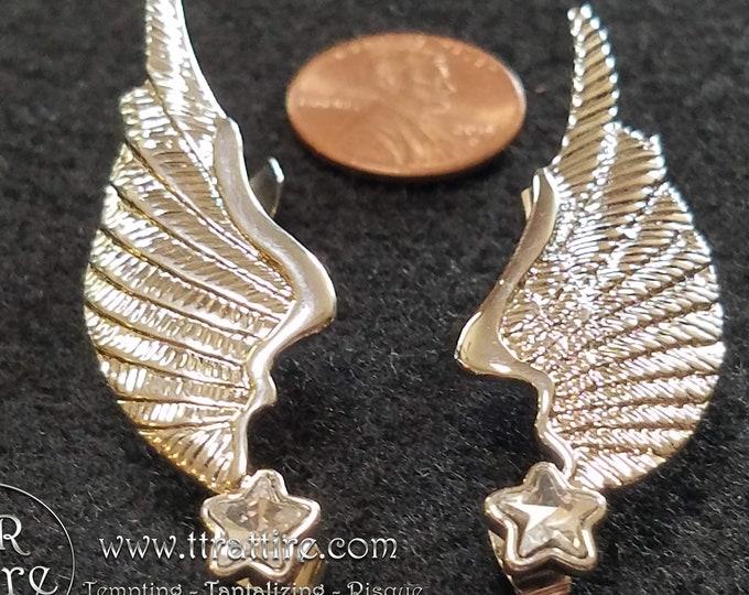 Angel Wing Ear Cuffs - Silver - Diamond
