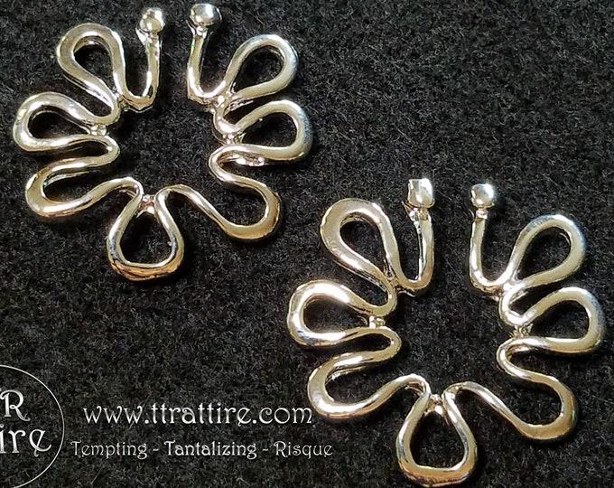 Flower Power Non Piercing Nipple Shields - Erotic Nipple Ring Jewelry - Sexy Fake Nipple Piercing - Topless Bikini - Silver