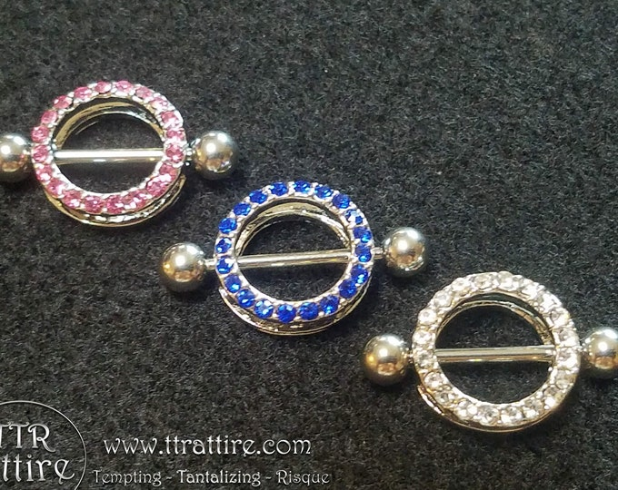 Jewel Encrusted Circles - Piercing nipple shield body jewelry for pierced nipples - Sexy wife gift for topless bikini