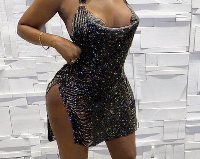 Metallic Glitter Cowl Neck Side Strap Dress - Bodycon bandage dress perfect for clubs, cocktail parties and sexy wear. Lifestyle clothing