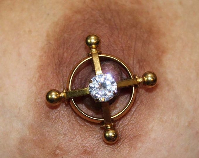 Screw Nipple Clamps w. Diamonds - Erotic BDSM Adjustable Non Piercing Nipple Rings  - Sexy Fake Piercing Nipple Jewelry - Swinger Lifestyle