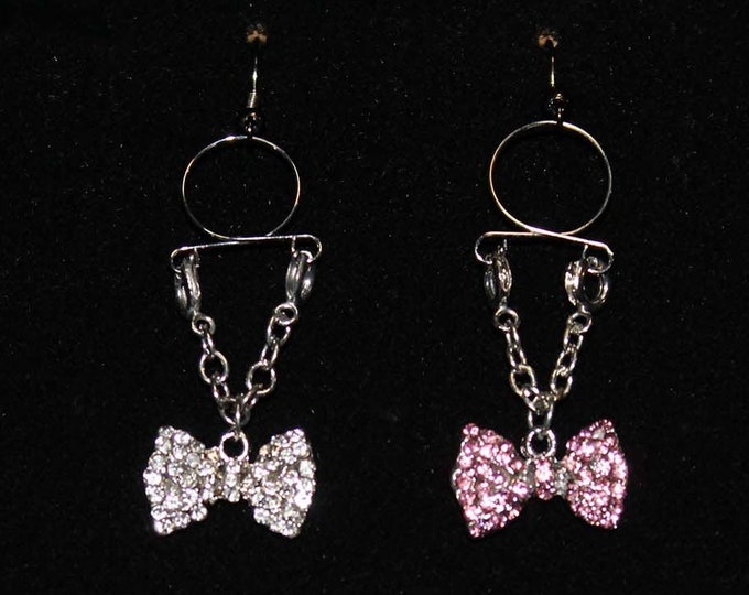 Glitter Bows Adjustable Non Piercing Nipple Rings - Erotic Nipple Jewelry - Sexy Fake Nipple Piercing - Topless Bikini - Pink and Diamond