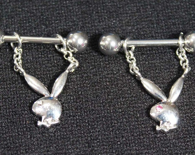 Playboy Straight Barbells (Officially Licensed) - Piercing nipple ring - Pink, Diamond