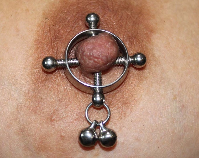 Screw Nipple Clamps w Sexy Bells - Erotic BDSM Adjustable Non Piercing Nipple Rings  - Sexy Fake Piercing Nipple Jewelry - Swinger Lifestyle