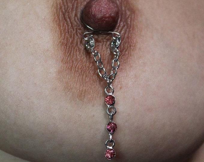 Pink Icicles Adjustable Non Piercing Nipple Rings - Erotic Nipple Jewelry - Sexy Fake Nipple Piercing - Topless Bikini