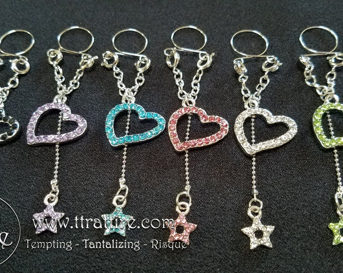 Heart Stars Adjustable Nipple Rings - Black, Pink, Blue, Green, Diamond and Lavender