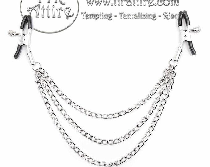 Triple Chain Alligator Adjustable Non Piercing Nipple Screw Clamps - Erotic Nipple Jewelry - Sexy Fake Nipple Piercing - Swinger Lifestyle