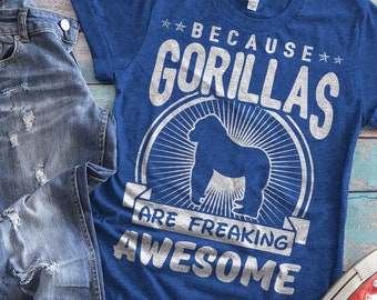 67820a8c9 Gorilla Shirt, Gorilla Tee Shirt, Funny Gorilla T-shirt, Gorilla Art,  Gorilla Lover Gift, Zookeeper Gift, Vintage Tshirt, Womens Graphic Tee