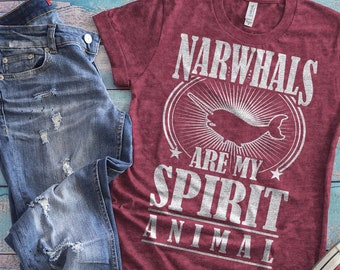 ac4d500f0b Narwhal Shirt, Narwhals T-Shirt, Narwhal Gifts, Narwhal Womens Tshirt,  Spirit Animal, Vintage Tee, Gift For Her, Mythical Creature Shirt