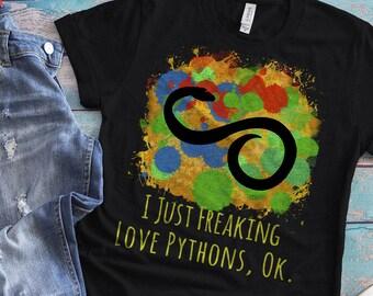 Python Shirt, Pythons Shirt, Green Python, Snake Shirt, Snake Tshirt, Ball Python, Python Lover Gift, Python Art Print Gift, Spirit Animal
