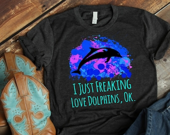 ccb410433 Watercolor Dolphin Shirt, Ocean Lover Gift, Beach Lover, Dolphin Birthday, Dolphin  T-shirt, Dolphins T-Shirt, Dolphin Womens Graphic Tee