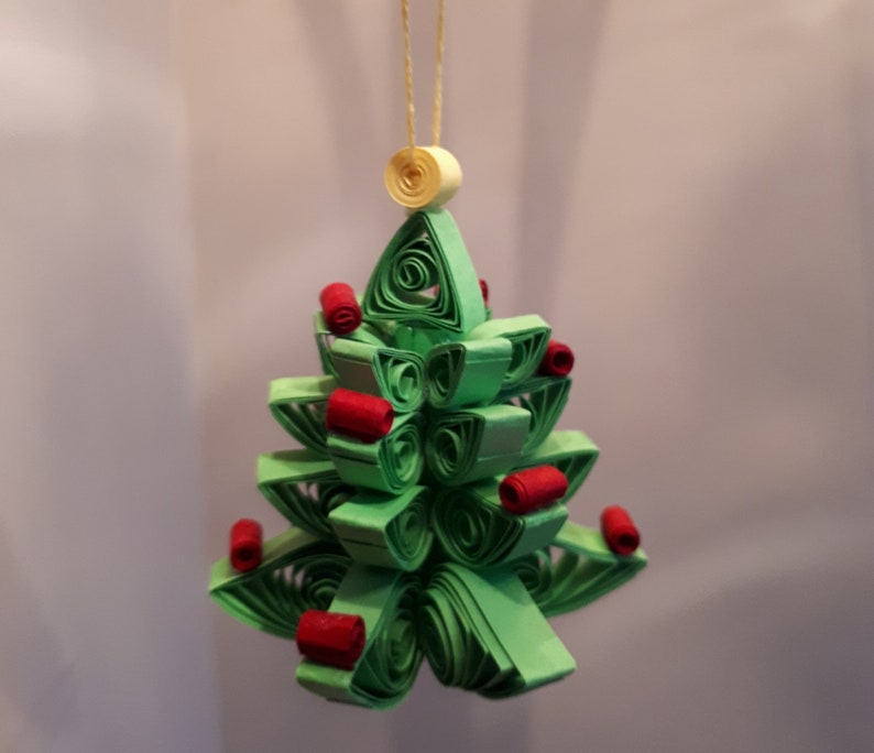 3d Quilled Christmas Tree Decoration For Xmas Tree Etsy