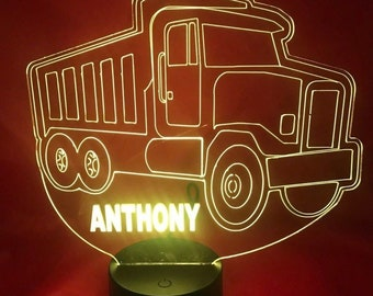 082a9a624be3 Dump Truck Light Up Lamp LED Free Custom Personalized Paving Dump Truck  Engraved Table Lamp